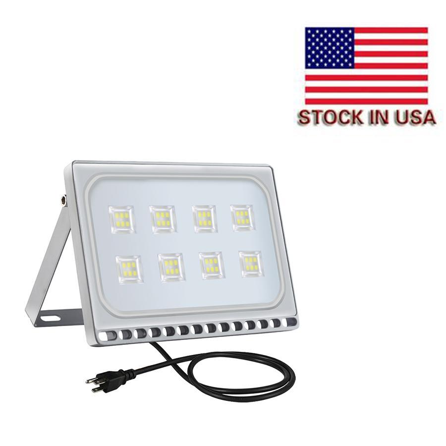 seguridad duradera IP65 proyector de luces LED LED resistente al agua 48pcs lámpara de alta intensidad SMD 50W 110V lámpara al aire libre con el enchufe de EE.UU. enfriar el envío rápido blanco