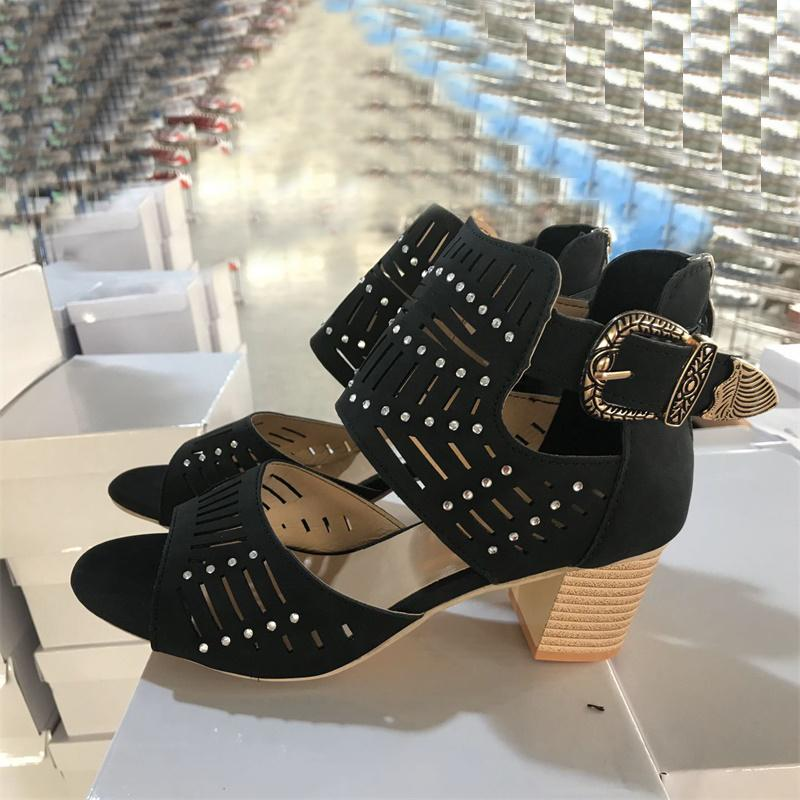 2020 новые женские летние сандалии мода Бальк высокий каблук с блестками кожаные сандалии платье Женская обувь на среднем каблуке хорошее качество с коробкой