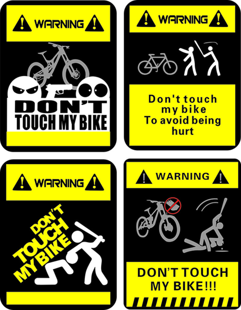 MTB Mountain Cycling Don/'t Touch My Bike Warning Reflective Bicycle Stickers