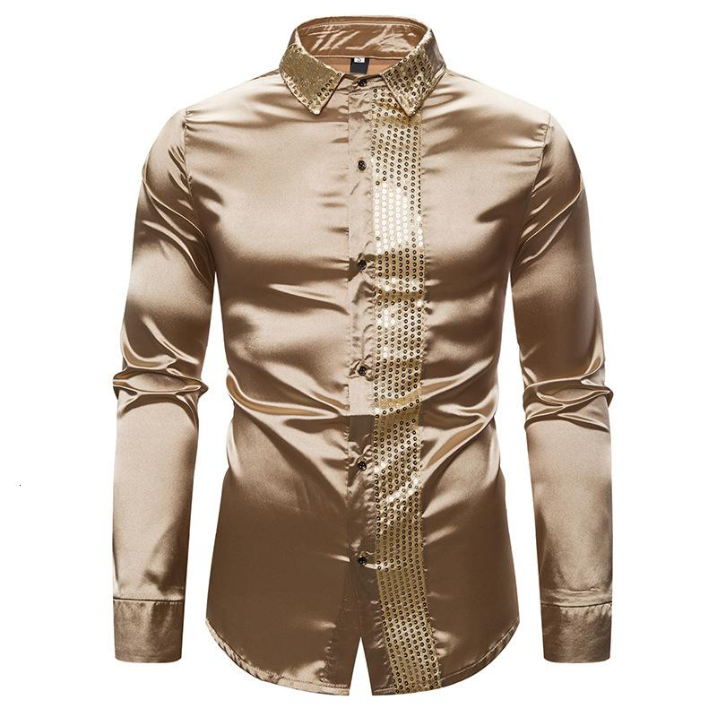 2020 New Men's Silk Satin Shiny Shirts Male Slim Fit Long Sleeve Sequin Patchwork Party Nightclub Wedding Shirt S-2XL