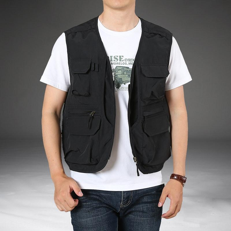 Jeep shield male middle-aged autumn outdoor multi-bag quick-drying loose Vest vest large size Tooling v-neck fat fishing waistcoat