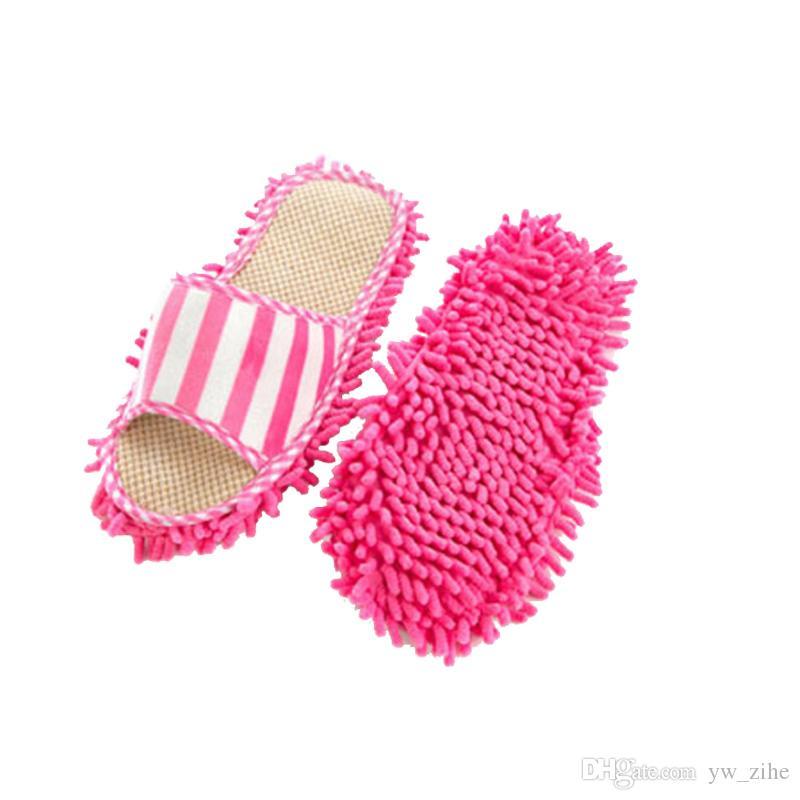 منظف كسول تنظيف القدم حذاء الممسحة النعال ستوكات الناعمة لبس حمام الطابق الغبار غطاء المماسح Cleanning أدوات wh0384