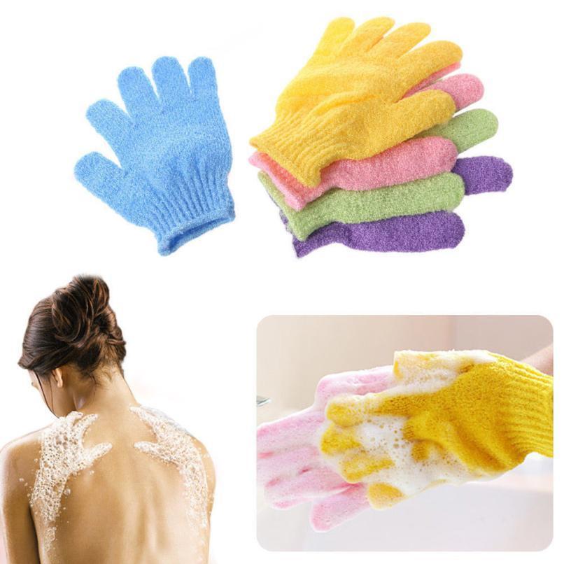 Двойная сторона купальные перчатки отшелушивающий мыть кожу спа тело скруббер перчатки спа массаж пять пальцев HHA201
