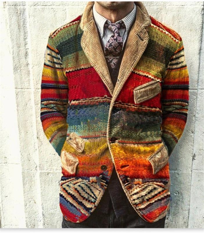 Langarm Coduroy Anzug Mäntel Designer Herren-Jacken Vintage-Designer-Herren-Jacken Mode-Kontrast-Farben-Revers-Neck