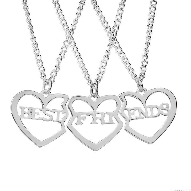 3 PC / Set Beste Freunde Halskette Gold herzförmige Anhänger BFF Ketten Freundschaft Halsband für Frauen Mädchen