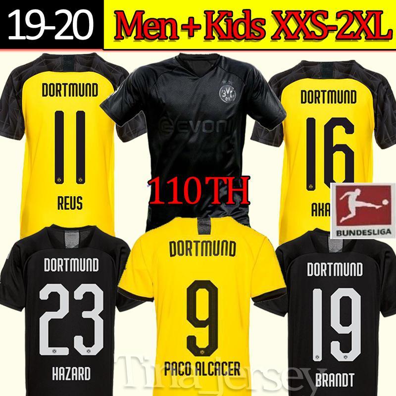 Top 110e Noir REUS M.GOTZE SANCHO 17 HAALAND Maillot de foot Hummels DIALLO BRANDT PACO Maillots de pied Borussia Dortmund Football Jersey
