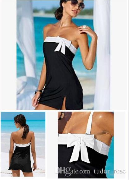 Venda quente por atacado - Brass Wrapped Breast Beach Dress Dress Primavera e Verão Sexy Bow saia Siamese Swimsuit