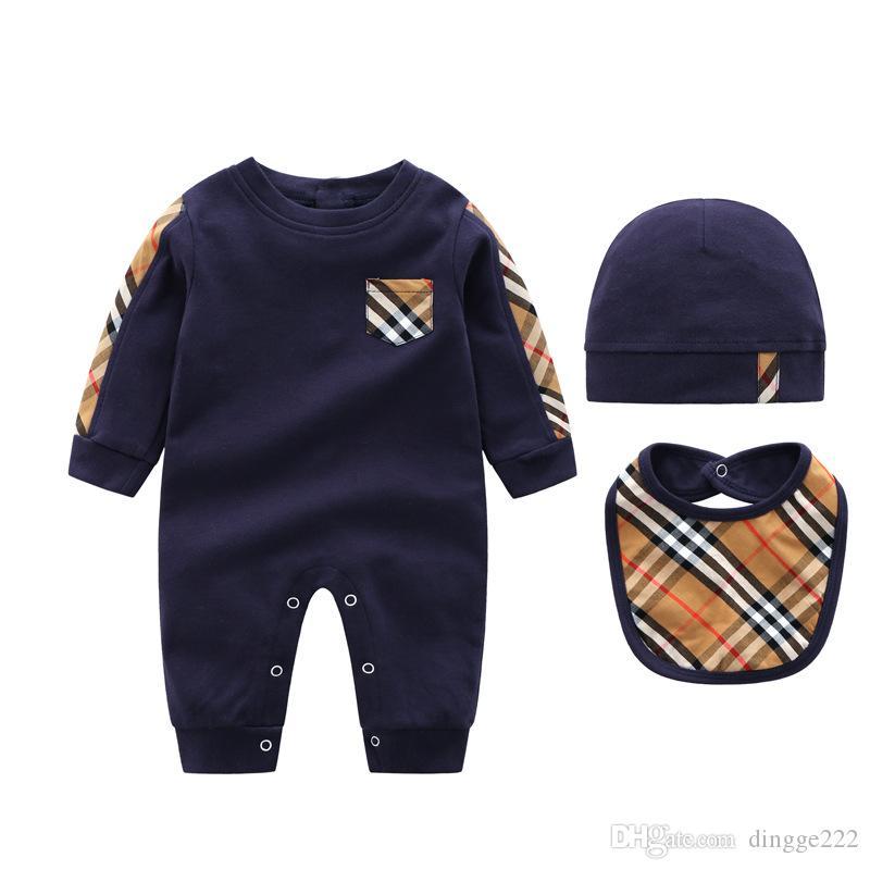 INS automne bébé garçons barboteuses designer enfants rayures revers manches longues combinaisons pour bébés filles lettre broderie coton barboteuse vêtements