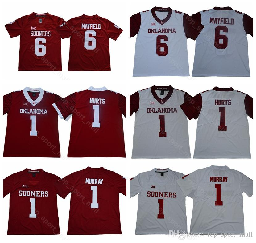 new concept 4c7ac 3f8e9 2019 New Style College 1 Kyler Murray Jersey Men Red White Oklahoma Sooners  Football Stitched 1 Jalen Hurts 6 Baker Mayfield 28 Adrian Peterson From ...
