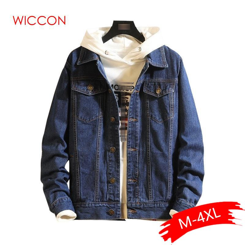 Cotton Sólidos Jacket Denim Casual Mens 2020 Primavera Outono Slim Fit Bomber Jackets Men Jean Jacket Mens Outwear Masculino Cowboy
