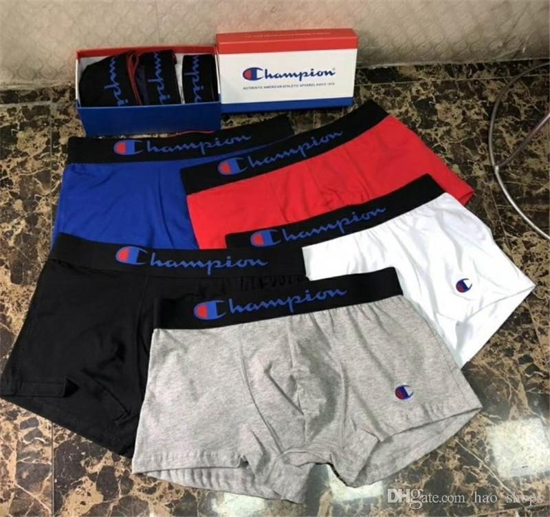 남성 챔피언스 속옷 통기성면 팬티 남성 팬티 반바지 편지 디자인 Cuecas U 볼록 짧은 바지 2020 높은 허리 권투 선수