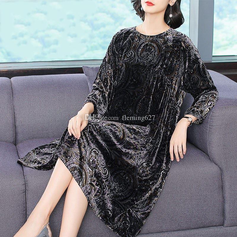 Abito in stile Sari indiano 3 Maniche a quarti manica nera Stampato Top Abito donna allentato Abbigliamento da festa tutti i giorni Costume arabo