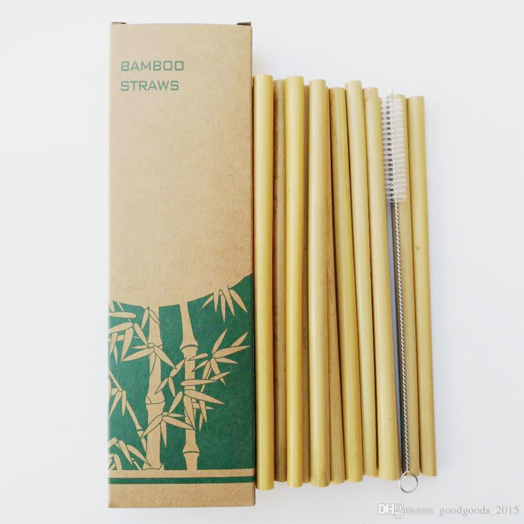 Useful Bamboo Drinking Straws Reusable Eco Friendly Party Kitchen + Clean Brush 13pcs/set