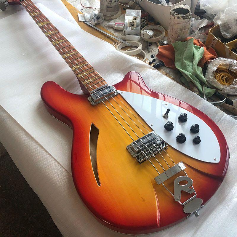Bağlanma RIC 4005 4 Strings Kiraz Sunburst Yarı Hollow Vücut Elektrik Bas Gitar Dama tahtası, Parlak Vernik Klavye, MOP Üçgen kakma