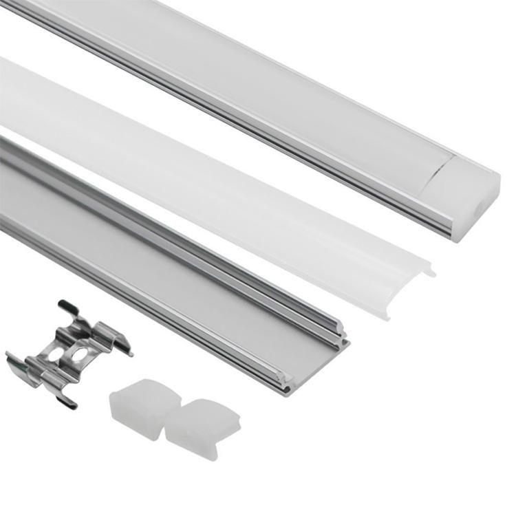 Sistema Canale 3.3ft / 1Meter Ferro di cavallo a LED in alluminio con coperchio, tappi e clip di montaggio Profilo di alluminio per la luce di striscia del LED di 17mm * 7mm