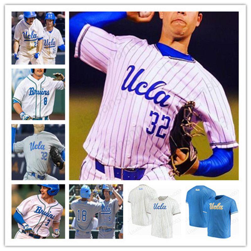 Rétro college de baseball cousu jersey ncaa ucla mat matt mclain ryan kreidler kevin kendall garrett mitchell blanc gris bleu clair 4xl