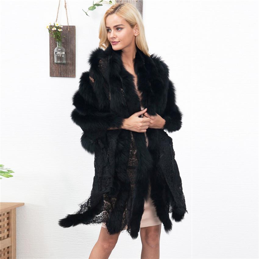 faux fur cape Lace splice fur scarf sexy ladies imitation mink fur Fox Collar Poncho Cape Bridal wedding dress shawl D19011004