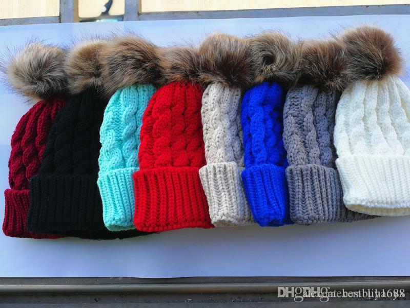 Yenidoğan kış şapka çocuk kız erkek örme şapka yün tüy yumağı kız bebek Skullies şapka TO276
