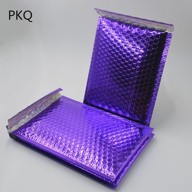 100 adet / paket Mor Kabarcık Zarf, Hediye Paketleme için alüminyum Metalik Folyo Kabarcık Mailer, Düğün Favor Çanta Ücretsiz Kargo