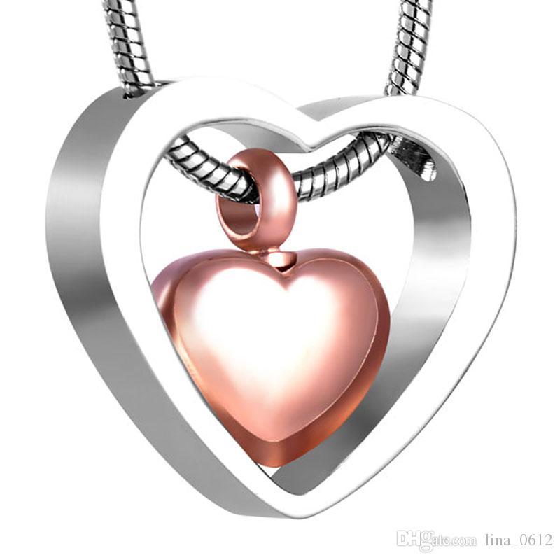 XWJ8078 Coeur relié au coeur Urnes commémoratives Collier Humain / Cendres de cendres de cendres à maillons Chaîne de crémation Pendentif en acier inoxydable