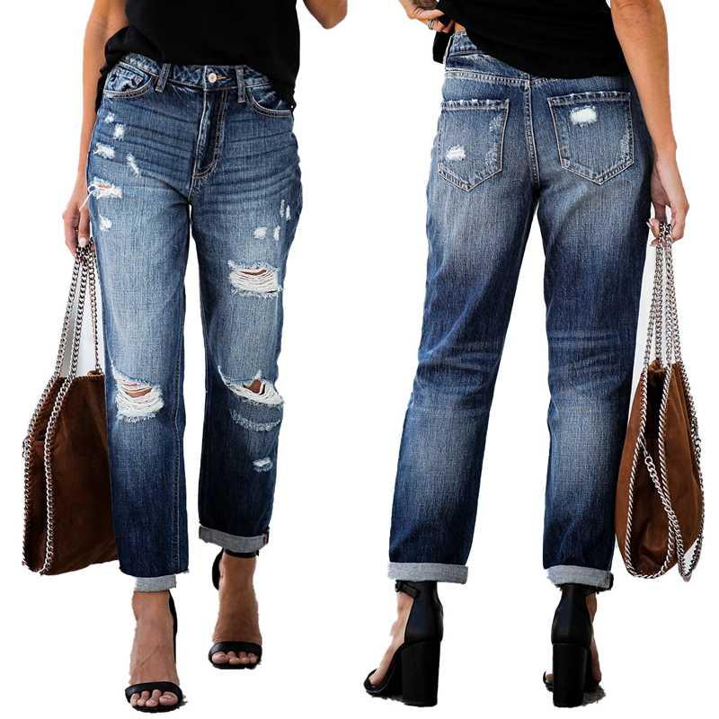 Compre Nueva Ripped Jeans Rectos Para Las Mujeres Apenada Novio Denim Jeans Mujer Flojo Ocasional Pantalones Plisados Cintura Media Jean Pantalones A 24 66 Del Odeletta Dhgate Com