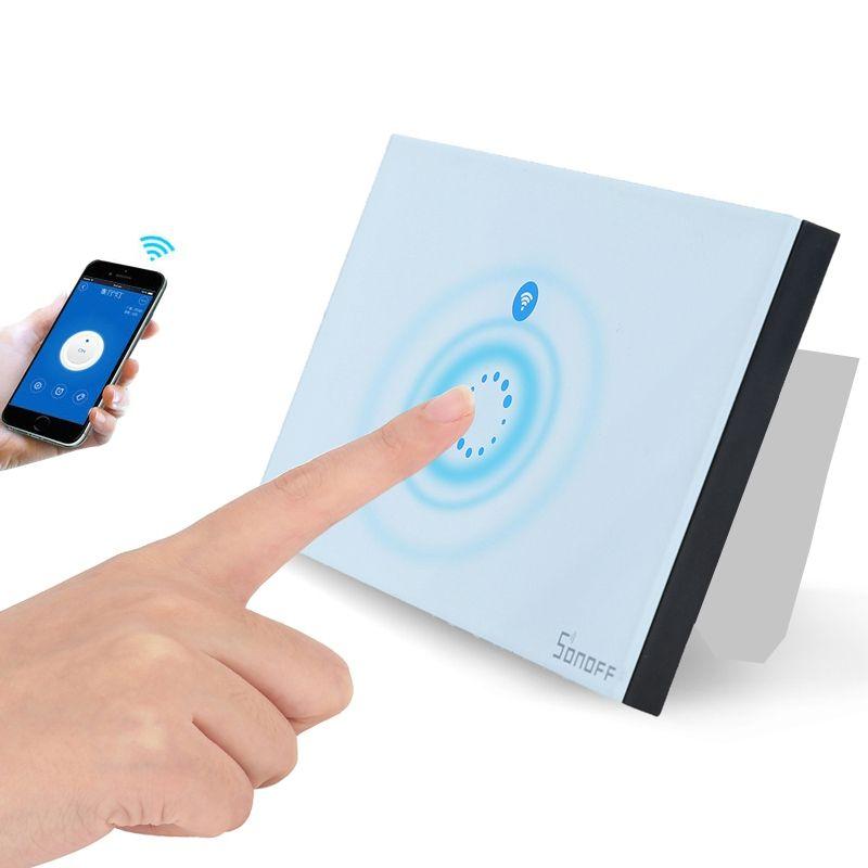 Interruttore della luce di tocco della parete di tocco Pannello di vetro intelligente degli Stati Uniti Telecomando senza fili della casa intelligente Via il telefono AC90-250V