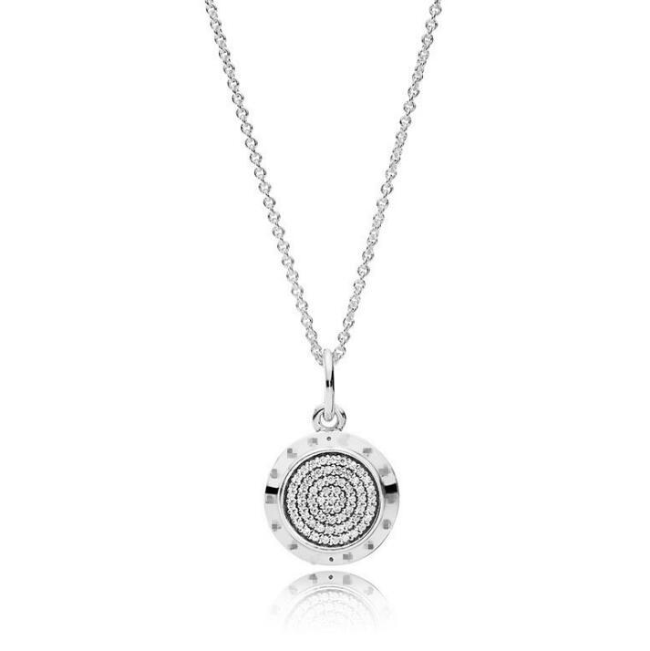 925 Sterling Silver Signature Colgante Collar Caja Original para CZ Diamond Disc El Collar de Cadena de Diamond For Women Men Sen's Necklace WY1339