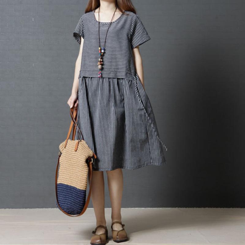 Повседневные платья негабаритные полосатые футболки платье женщин плюс размер летняя японская одежда мода дамы корейский круглый шеи белье