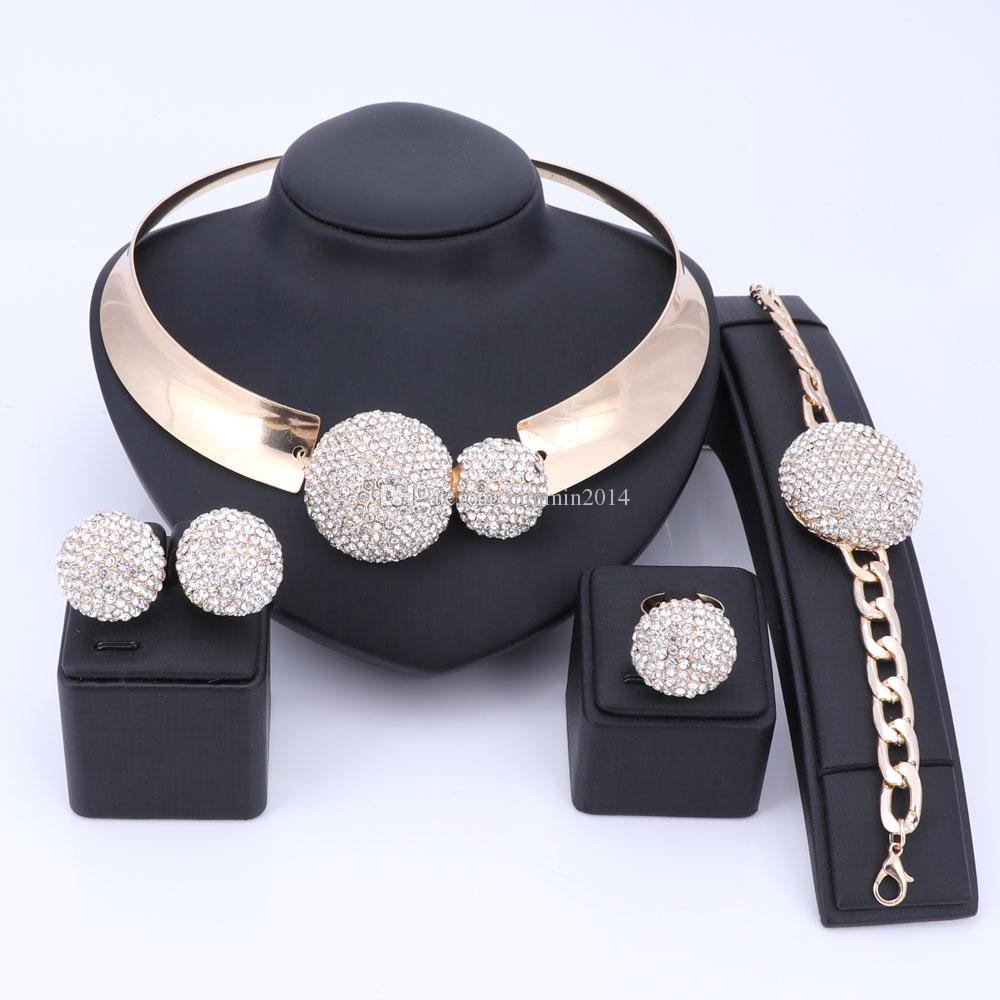 Jeu de bijoux nigérian Set Or Couleur Or Crystal Crystal Collier Boucle d'oreille Bracelet Bague Ensemble Pour Femmes Bridal Mariage Accessoires