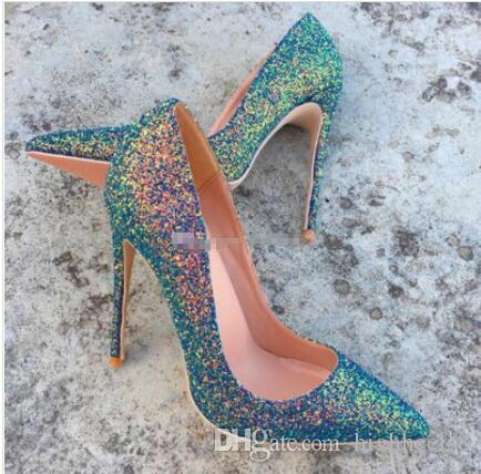 Modo di marca la punta del piede verde scuro con tacco alto squisito paillettes glitter eleganti scarpe singolo 12cm scarpe da sposa tacco alto 10 centimetri otto centimetri partito