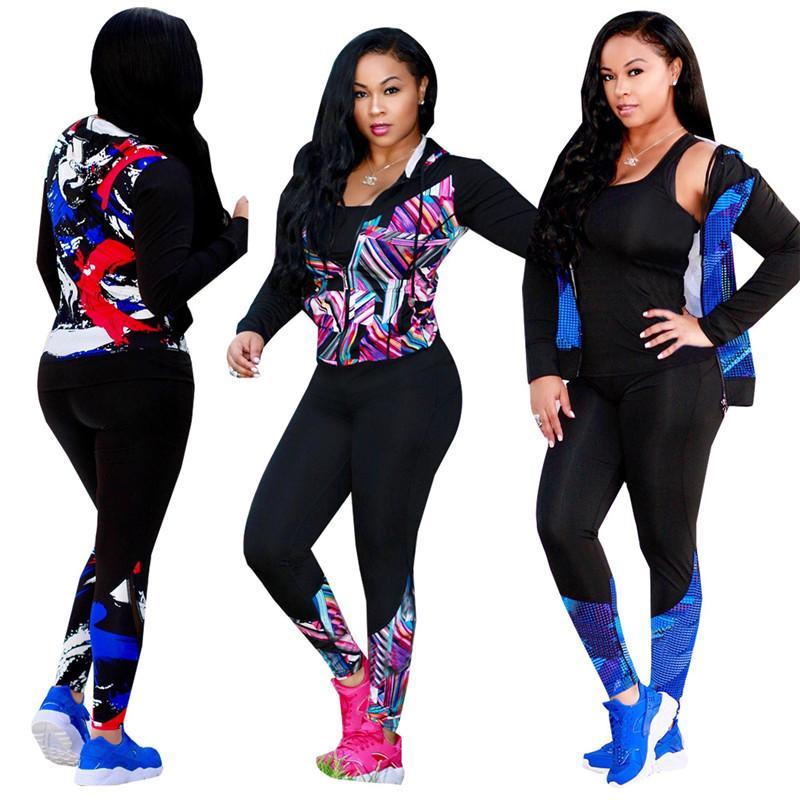 Женщины 2 Piece Set Autumn Spring Outfit Толстовка пуловер пальто с длинным рукавом + брюки Костюм брюки Спортивный костюм Спортивная одежда высокого качества Клуб Горячие