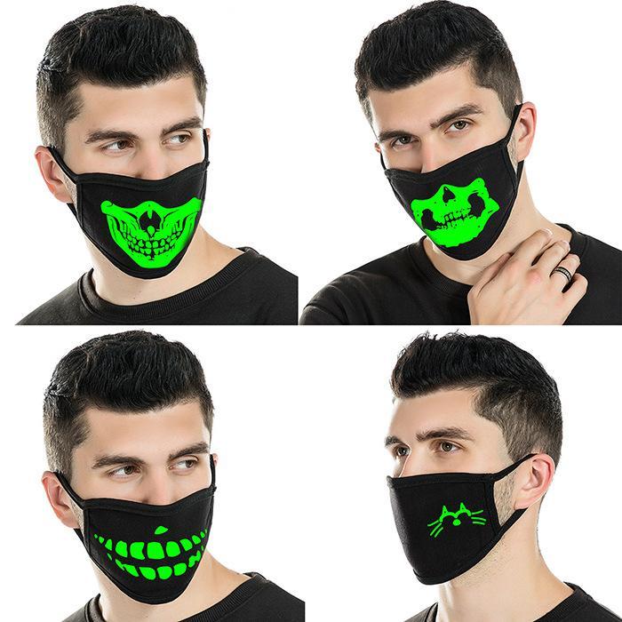 yüz maskesi Aydınlık yüz maskeleri İskelet Binme Çiftler Anti-toz Moda Diş Glow Ağız Karanlık Gece Halloween Cosplay Maske
