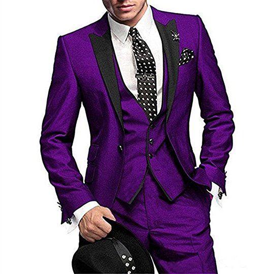 Brand New Groom Tuxedos Purple Groomsmen Peak Black Lapel Mejor traje de hombre Boda / Trajes de hombre Blazer para novio (Chaqueta + Pantalones + Corbata + Chaleco) A15