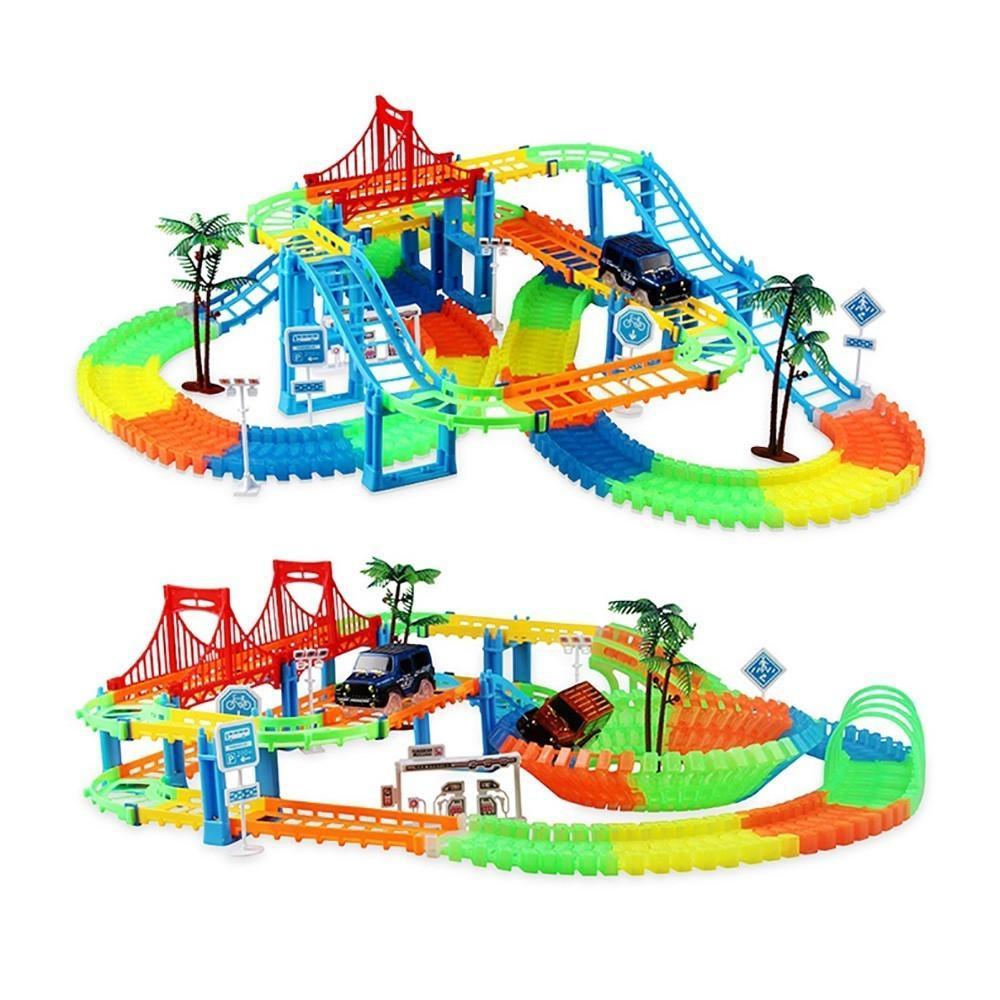 DIY bloques de construcción variedad creativa pista del coche de carril niños de juguetes educativos para los niños los juguetes del bloque Compatible con Legoed Duploe