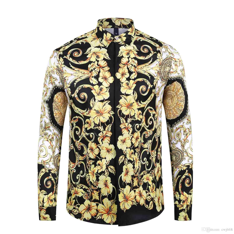 2019 estilo italiano clásico de la medusa camisa de estampado floral de color pol lujo informal Harajuku camisa de manga larga de los hombres cabeza de la medusa