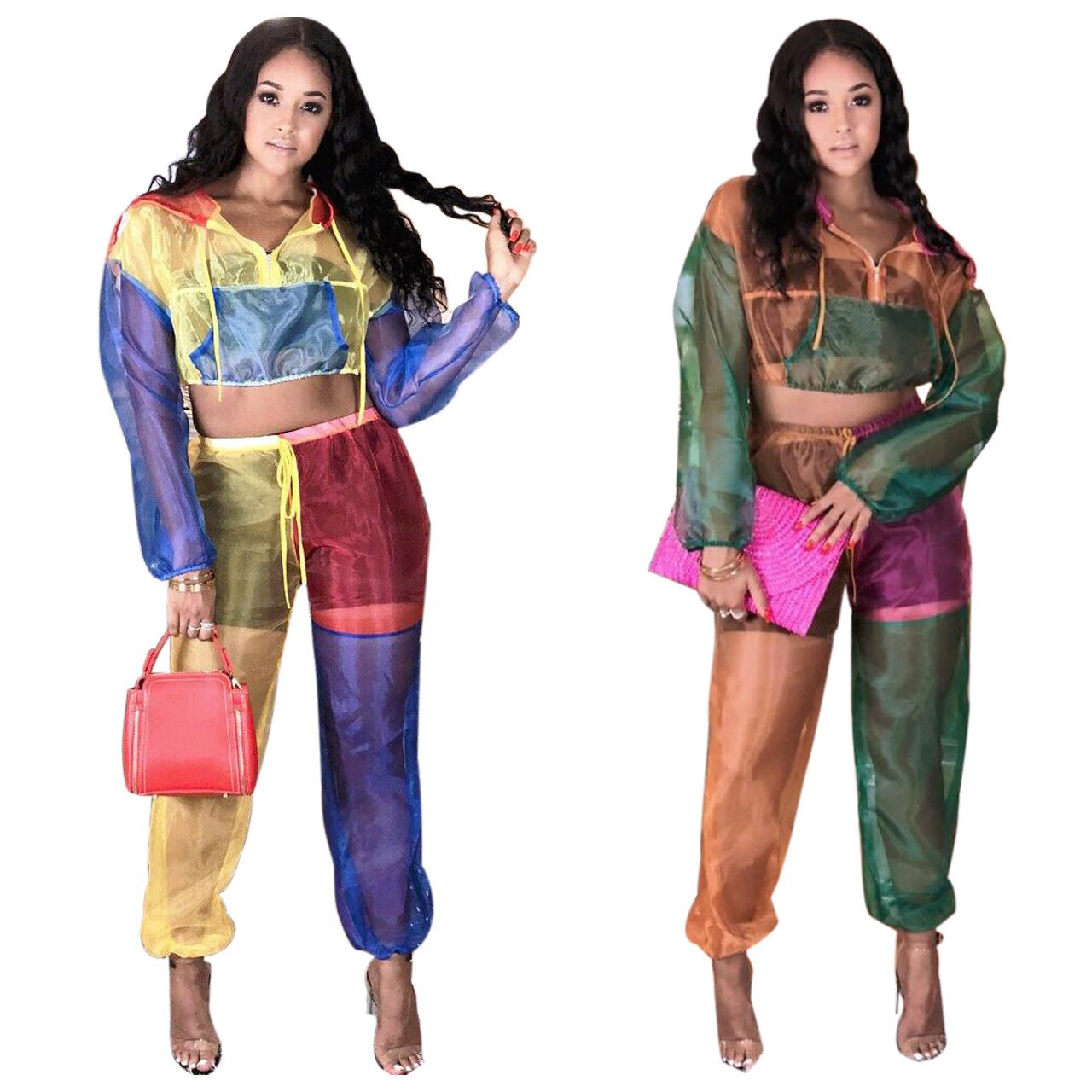 Fashion Panelled Colors Organza Two Pieces Women Tracksuits Hooded Long Sleeves T Shirt and Pants Casual Outfits fz4261
