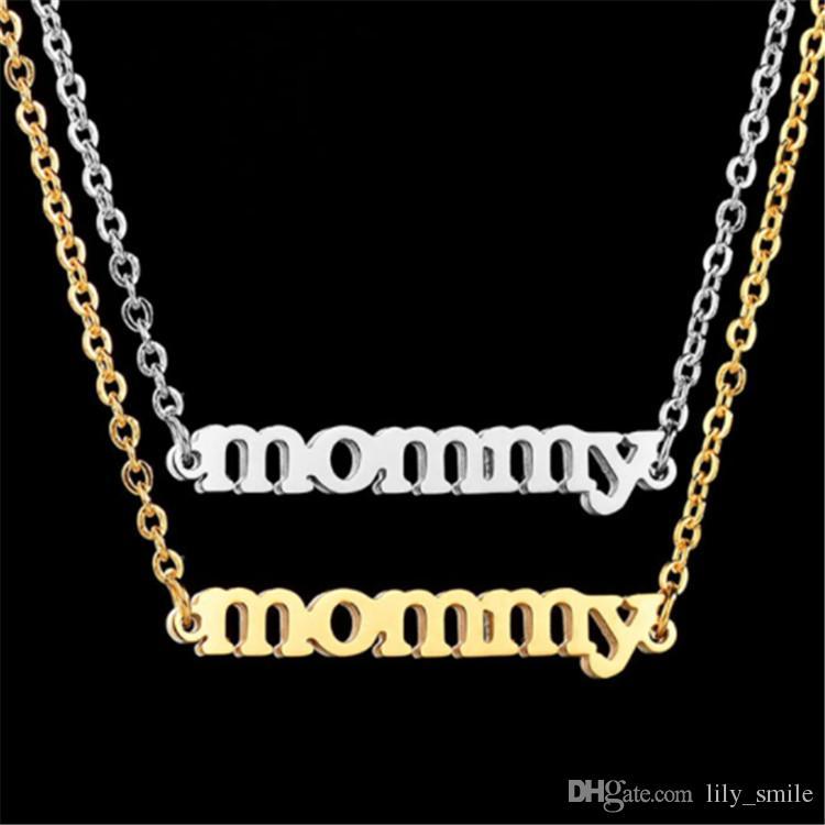 Wholesale Unique Style Golden Mummy Letter Pendant Necklace Simple