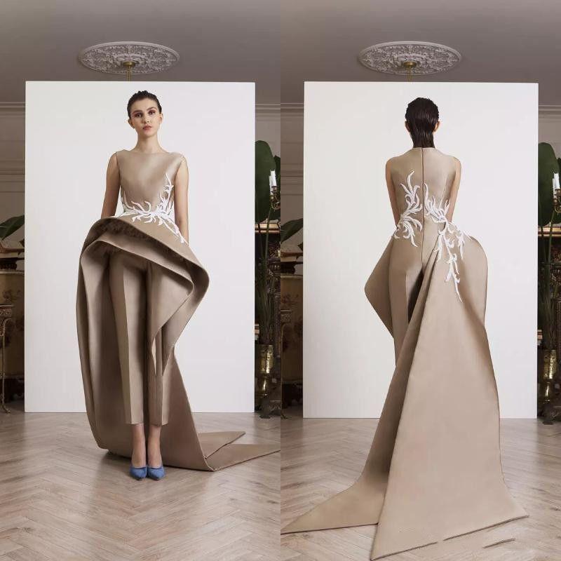 Krikor Jabotian Appliques Women Jumpsuits Dresses Evening Wear Ruffle Peplum Elegant Sleeveless Prom Party Dress Long Train Formal Gowns