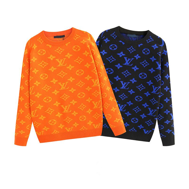 New high quality hot sweater pullover jacquard knit geometric pattern label round neck sweater pullover sweater male code M-3XL