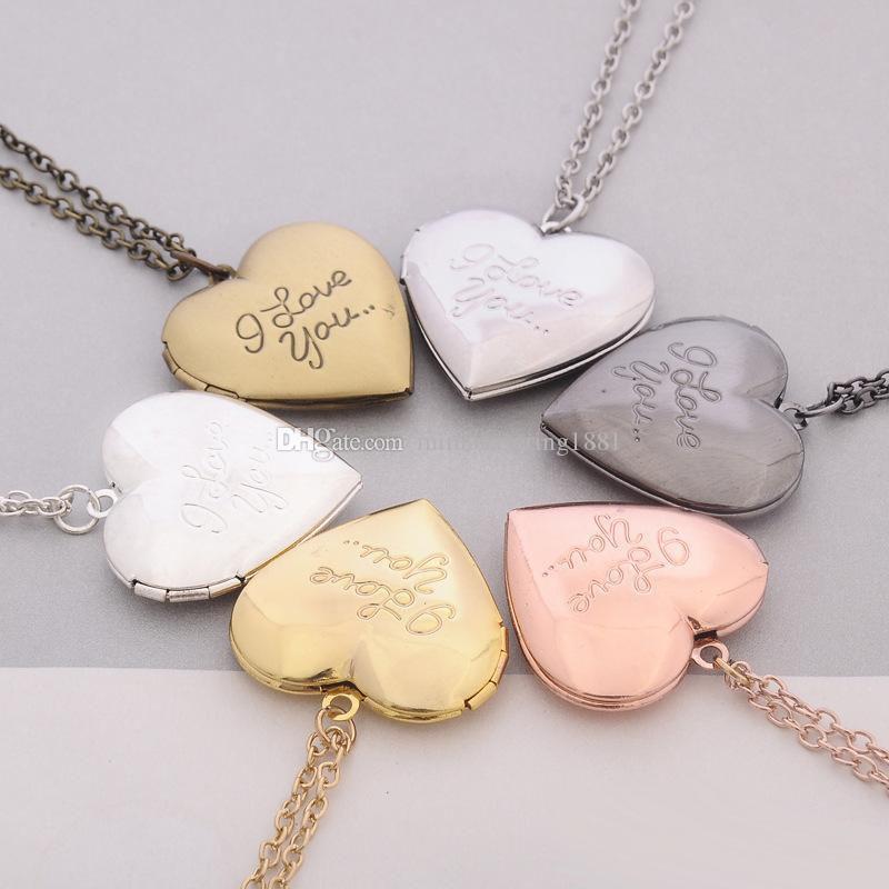 I Love You Heart Locket Necklace Silver Gold Secret Message Photo Box Heart Love Pendants Women Jewelry