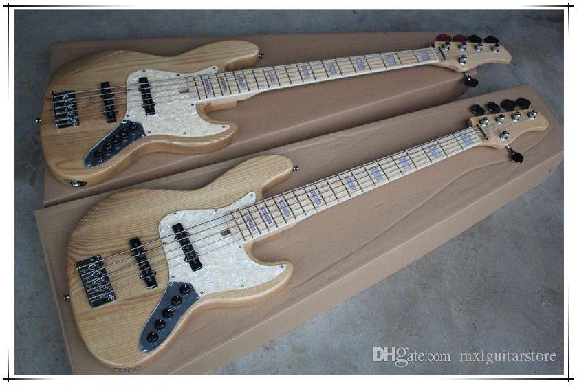 Fabrika Custom 5 Strings Doğal Ahşap Renk Elektrik Bas Gitar, Krom Donanımları, Akçaağaç Klavye, Kül Vücut, değiştirilebilir