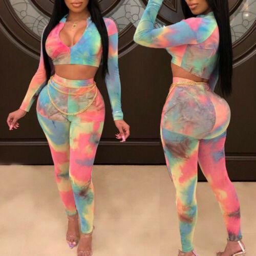 2pcs Set signore delle donne multicolori Stampa aderente lunghi pagliaccetti della tuta del signore Clubwear caldo e verniciato vestiti Summer Set femminile