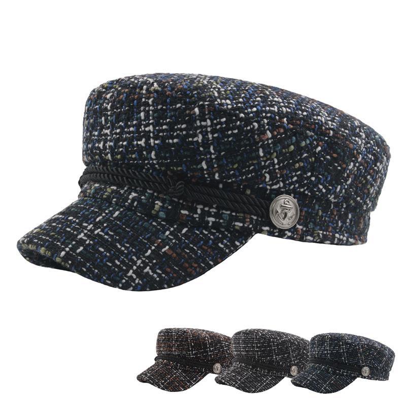 Cappello invernale in tweed per le donne Cappelli in feltro scozzese di moda Cappellino per visiera Cappellino piatto Caldo Vintage Uomo Berretti Accessori Regali