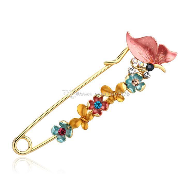 Kristal Broş vintage Emaye Çiçek Kelebek broş kadın moda kadınlar için broche iğneler ve broşlar hayvan iğneler broches takı