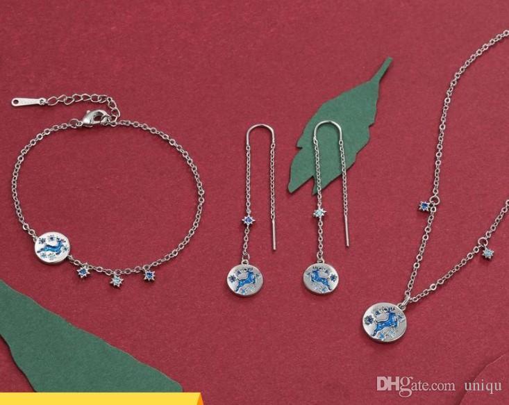 Bijoux définit les boucles d'oreilles de femme de bijoux de créateurs de luxe Collier nouveaux accessoires christma renne bijoux en gros