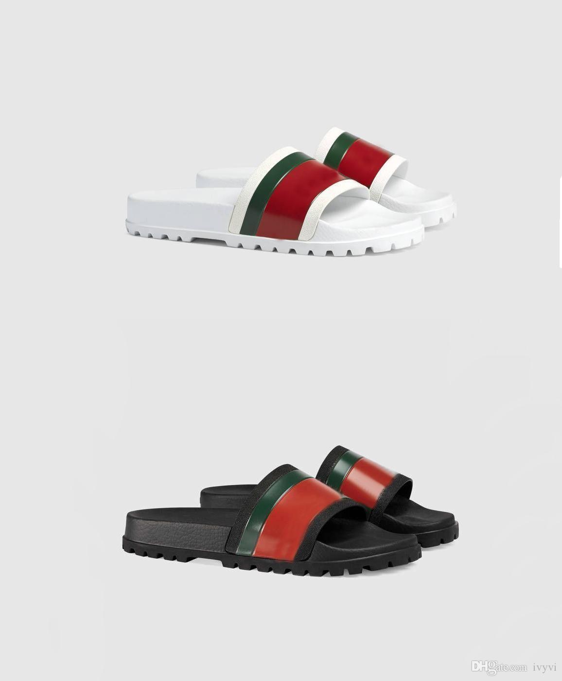 2020 i più nuovi di diapositive autentica pantofole moda floreale broccato gomma mens pantofole fondo Gear striping tessute Beach causale Sandal