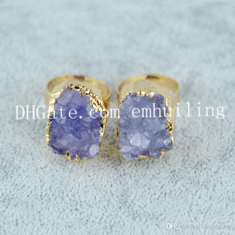10pcs Dyed Color Rough Quartz Druzy Geode Rings Adjustable Size Small Irregular Drusy Stone Edged in Electroplated Gold Color Statement Ring