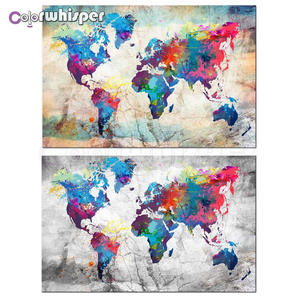 Diamond Painting 5D Full Square/Round Map of World Painting Color Picture Daimond Embroidery Cross Stitch Crystal Mosaic 848DP