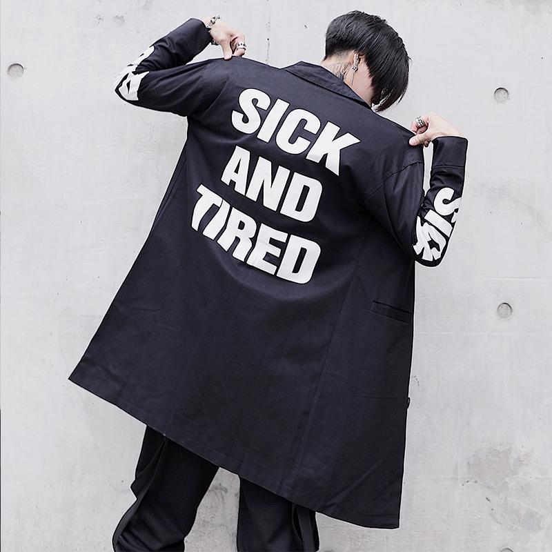 스프링 트렌치 코트 남성 Streetwear 블랙 롱 코트 힙합 윈드 브레이커 Mens Overcoat