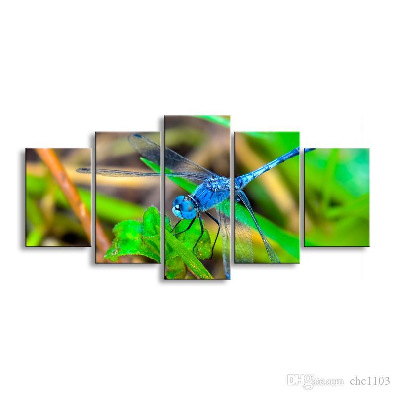 5 piezas de alta definición de impresión libélula lienzo pintura cartel y arte de la pared sala de estar imagen QIT5-009